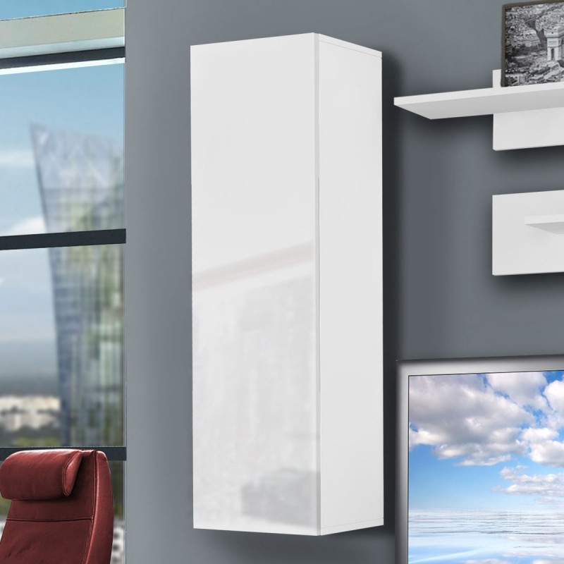 Meuble tv mural drada i 180cm blanc for Meuble mural 160 cm