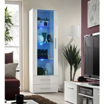 "Vitrine LED Design ""Neo"" 190cm Blanc Brillant"