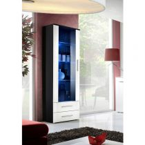 "Vitrine LED Design ""Neo"" 190cm Noir & Blanc Brillant"