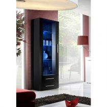 "Vitrine LED Design ""Neo"" 190cm Noir Brillant"