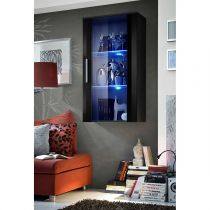 "Vitrine LED Murale Design ""Neo"" 110cm Noir Brillant"