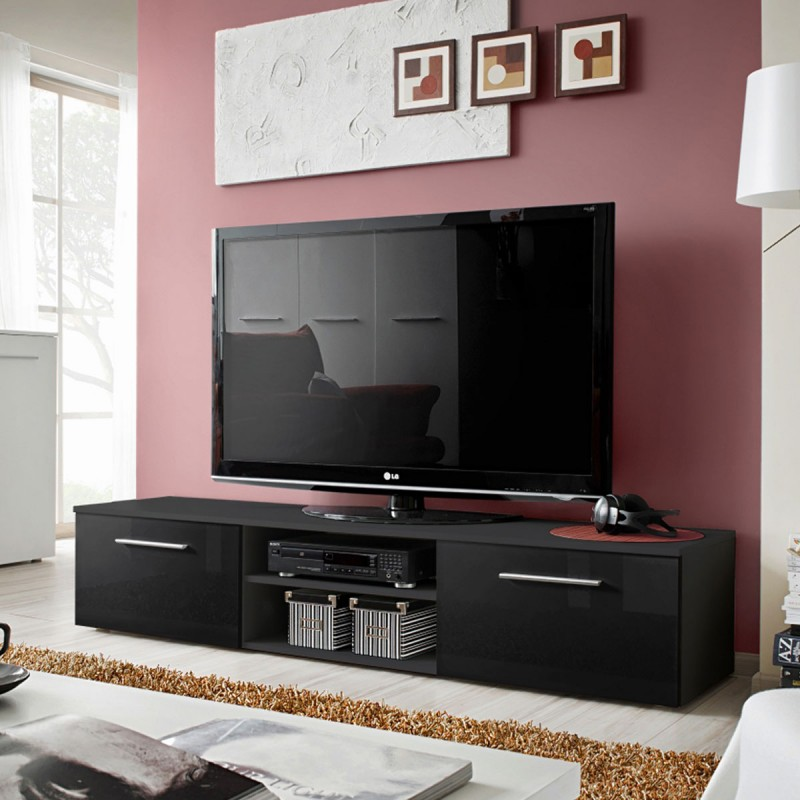 meuble tv design bono ii 180cm noir. Black Bedroom Furniture Sets. Home Design Ideas