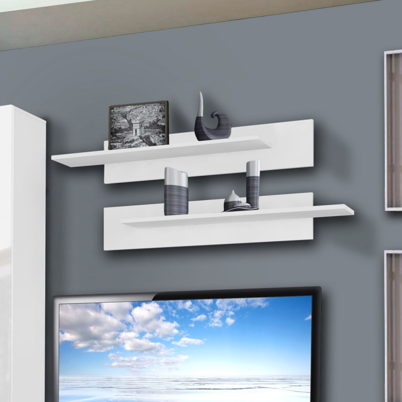 Meuble tv mural drada v 180cm blanc for Meuble tv mural groupon