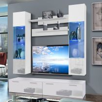 "Meuble TV Mural ""Ledge VI Twin"" 200cm Blanc"