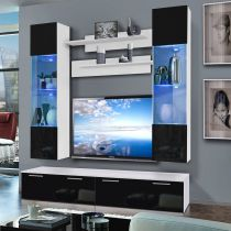 "Meuble TV Mural ""Ledge VI Twin"" 200cm Noir & Blanc"