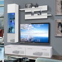 "Meuble TV Mural ""Ledge VI"" 200cm Blanc"