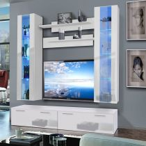 "Meuble TV Mural ""Ledge V Twin"" 200cm Blanc"