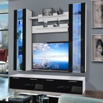 "Meuble TV Mural ""Ledge V Twin"" 200cm Noir & Blanc"