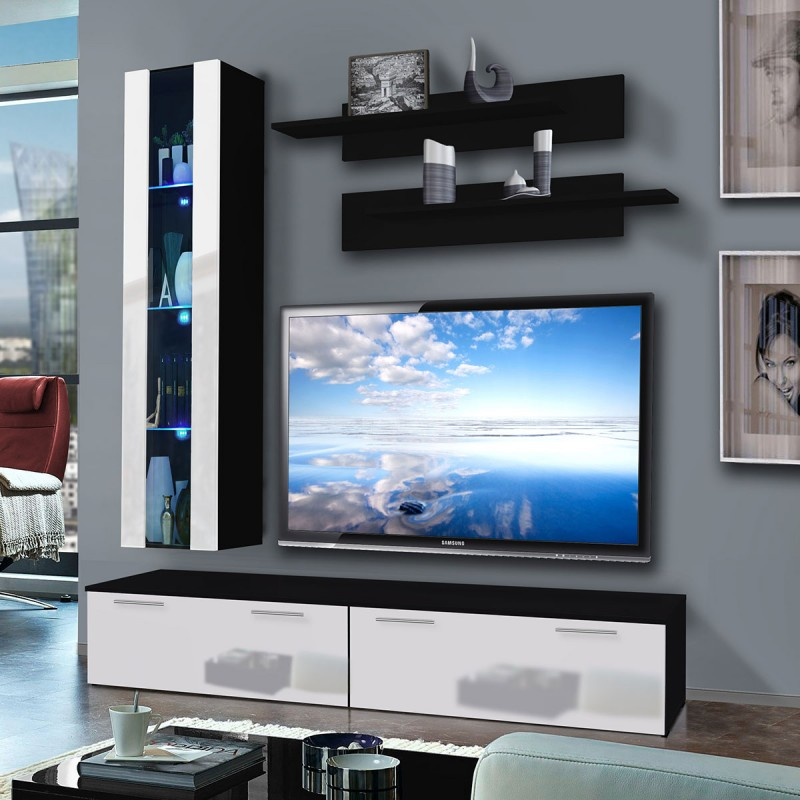meuble tv mural ledge v 200cm blanc noir. Black Bedroom Furniture Sets. Home Design Ideas