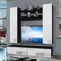 "Meuble TV Mural ""Ledge IV Twin"" 200cm Blanc & Noir"