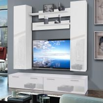 "Meuble TV Mural ""Ledge IV Twin"" 200cm Blanc"