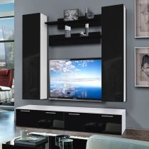 "Meuble TV Mural ""Ledge IV Twin"" 200cm Noir & Blanc"