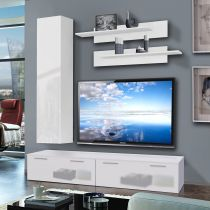 "Meuble TV Mural ""Ledge IV"" 200cm Blanc"