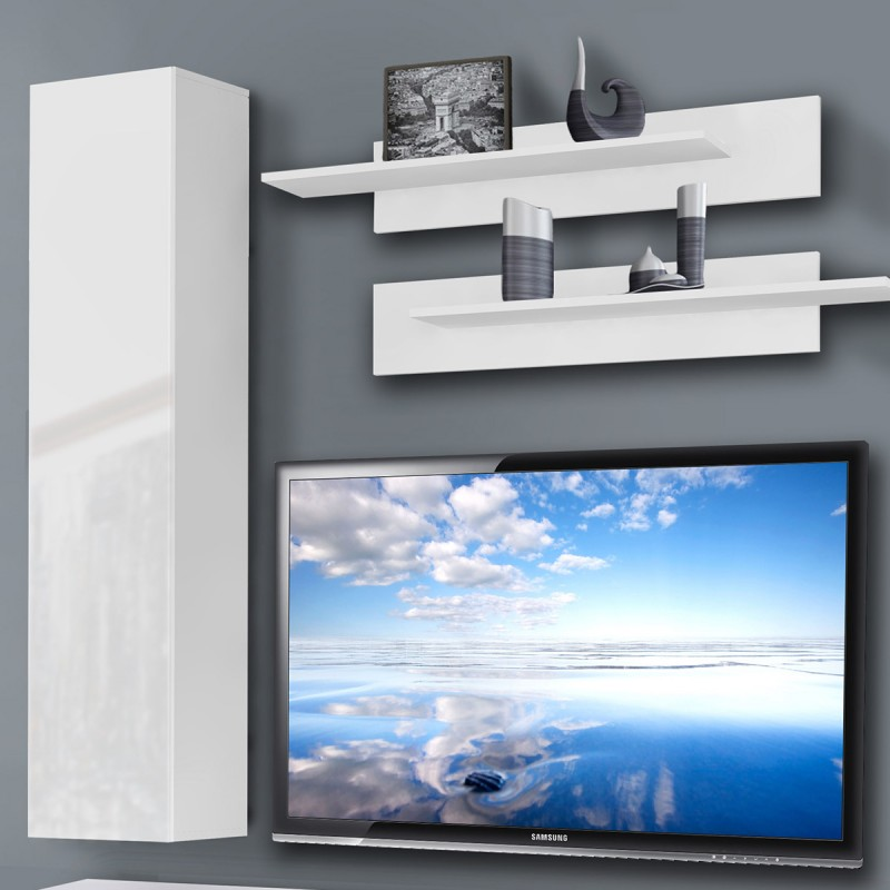 Meuble tv mural ledge iv 200cm blanc - Meuble tv mural blanc ...