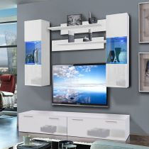 "Meuble TV Mural ""Ledge III Twin"" 200cm Noir & Blanc"