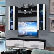 "Meuble TV Mural ""Ledge II Twin"" 200cm Blanc & Noir"