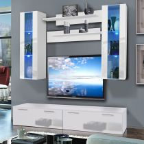 "Meuble TV Mural ""Ledge II Twin"" 200cm Blanc"