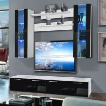 "Meuble TV Mural ""Ledge II Twin"" 200cm Noir & Blanc"