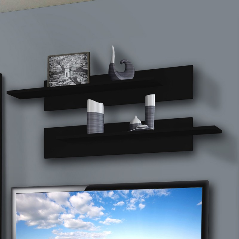 Meuble tv mural ledge ii 200cm noir for Meuble mural 160 cm