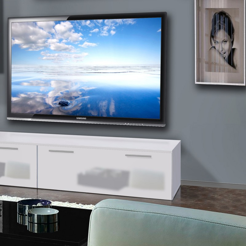 meuble tv mural ledge ii 200cm blanc. Black Bedroom Furniture Sets. Home Design Ideas