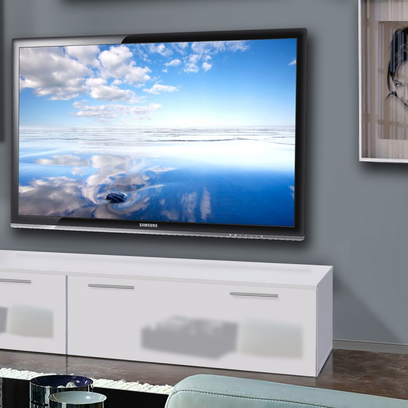 Meuble tv mural ledge ii 200cm noir blanc for Meuble tv noir blanc