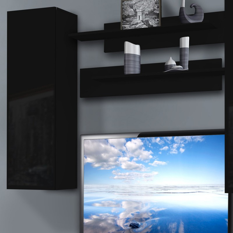 Meuble tv mural ledge i twin 200cm noir for Meuble mural noir brillant