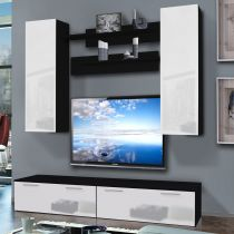 "Meuble TV Mural ""Ledge I Twin"" 200cm Blanc & Noir"