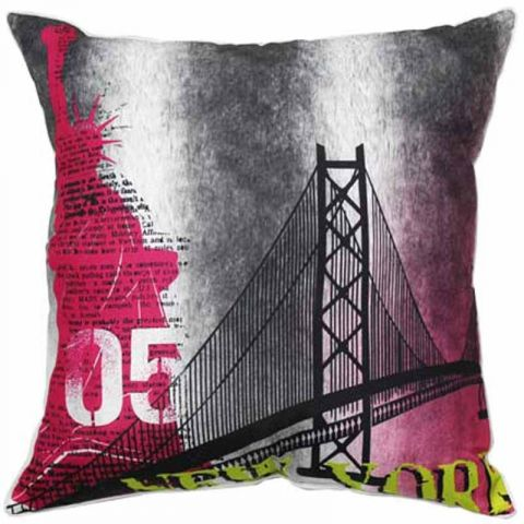 "Coussin Déco ""New York City"" Rose"