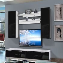 "Meuble TV Mural ""Ledge I Twin"" 200cm Noir & Blanc"