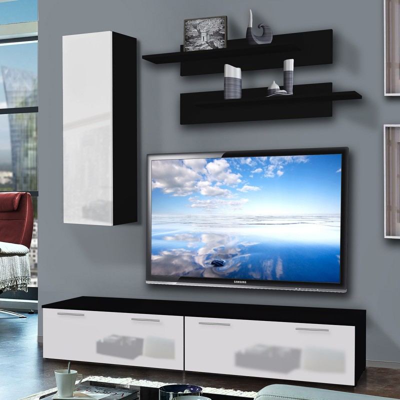 meuble tv mural ledge i 200cm blanc noir. Black Bedroom Furniture Sets. Home Design Ideas