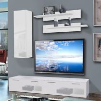 "Meuble TV Mural ""Ledge I"" 200cm Blanc"
