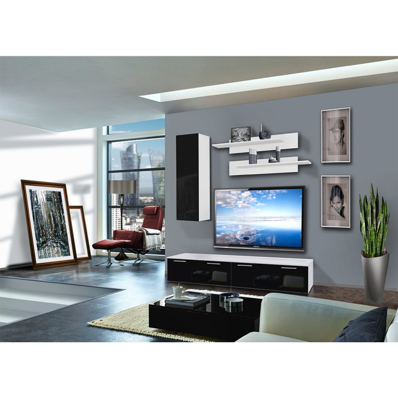 meuble tv mural ledge i 200cm noir blanc. Black Bedroom Furniture Sets. Home Design Ideas