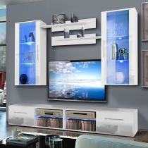 "Meuble TV Mural ""Tubus VII Twin"" 240cm Blanc"