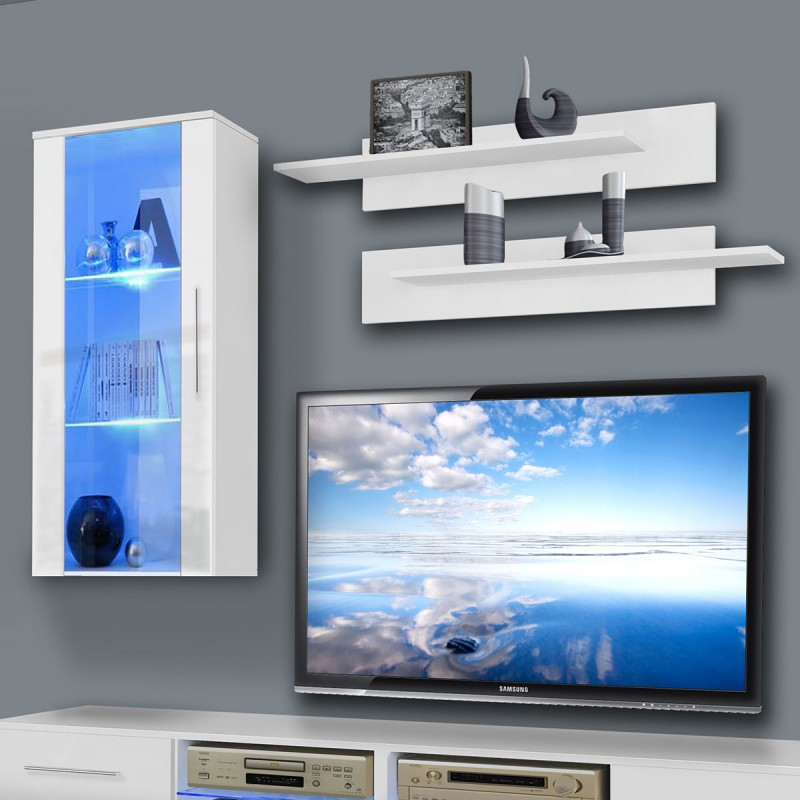 meuble tv mural tubus vii 240cm blanc. Black Bedroom Furniture Sets. Home Design Ideas