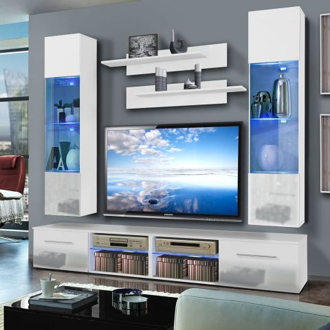 Meuble tv mural tubus vi twin 240cm blanc for Meuble tv mural 240 cm blanc gris adhara