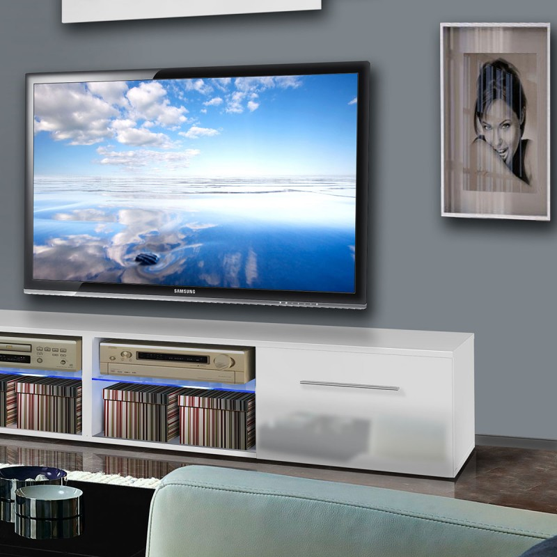 meuble tv mural tubus vi 240cm blanc. Black Bedroom Furniture Sets. Home Design Ideas