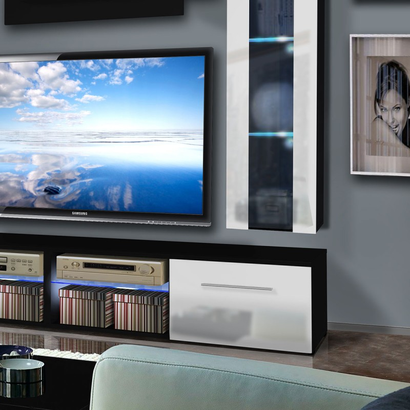 meuble tv mural tubus v twin 240cm blanc noir. Black Bedroom Furniture Sets. Home Design Ideas