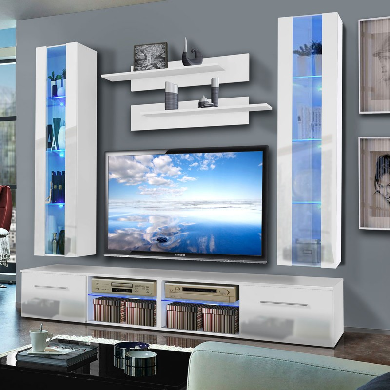 Meuble tv mural tubus v twin 240cm blanc for Meuble tv mural 240 cm blanc gris adhara
