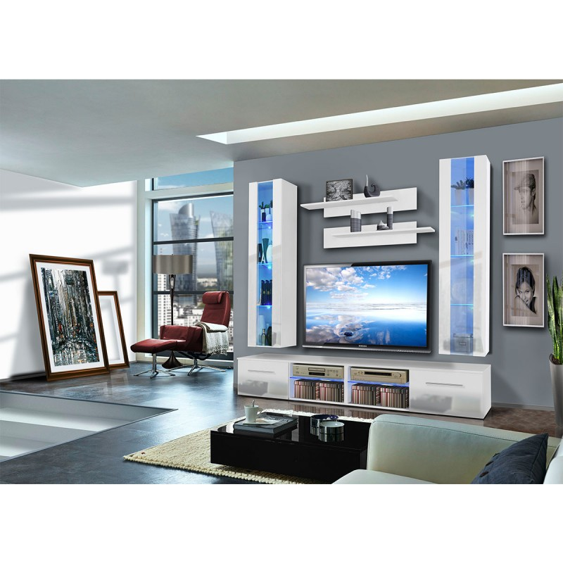 meuble tv mural tubus v twin 240cm blanc. Black Bedroom Furniture Sets. Home Design Ideas