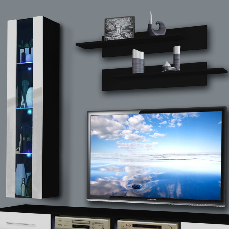 meuble tv mural tubus v 240cm blanc noir. Black Bedroom Furniture Sets. Home Design Ideas
