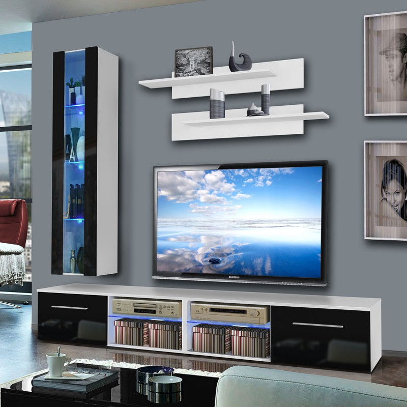 meuble tv mural tubus v 240cm noir blanc. Black Bedroom Furniture Sets. Home Design Ideas