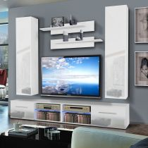 "Meuble TV Mural ""Tubus IV Twin"" 240cm Blanc"