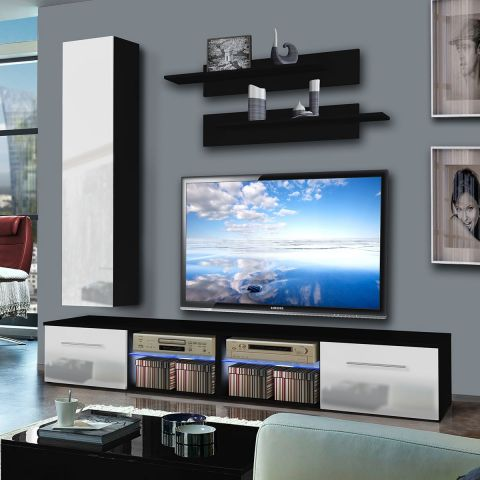 meuble tv mural tubus iv 240cm blanc noir. Black Bedroom Furniture Sets. Home Design Ideas