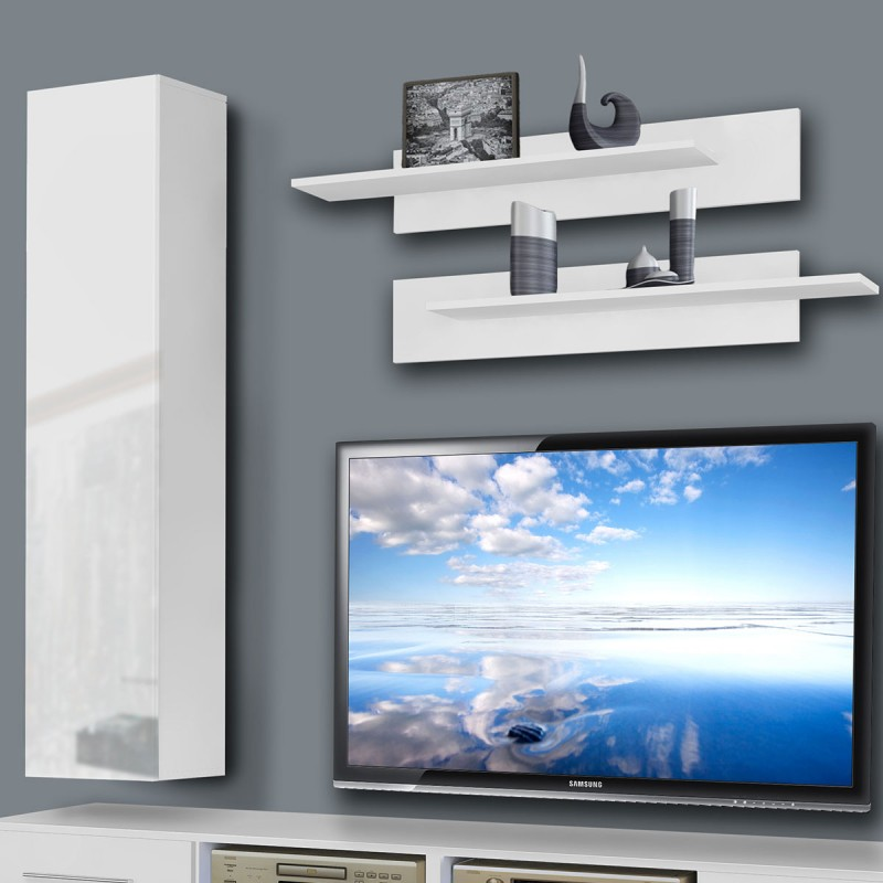 meuble tv mural tubus iv 240cm blanc. Black Bedroom Furniture Sets. Home Design Ideas
