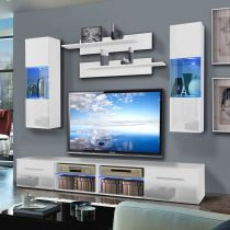 "Meuble TV Mural ""Tubus III Twin"" 240cm Blanc"