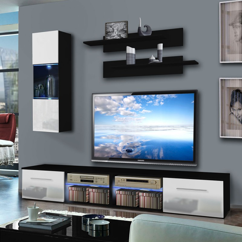 meuble tv mural tubus iii 240cm blanc noir. Black Bedroom Furniture Sets. Home Design Ideas