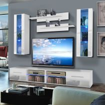 "Meuble TV Mural ""Tubus II Twin"" 240cm Blanc"