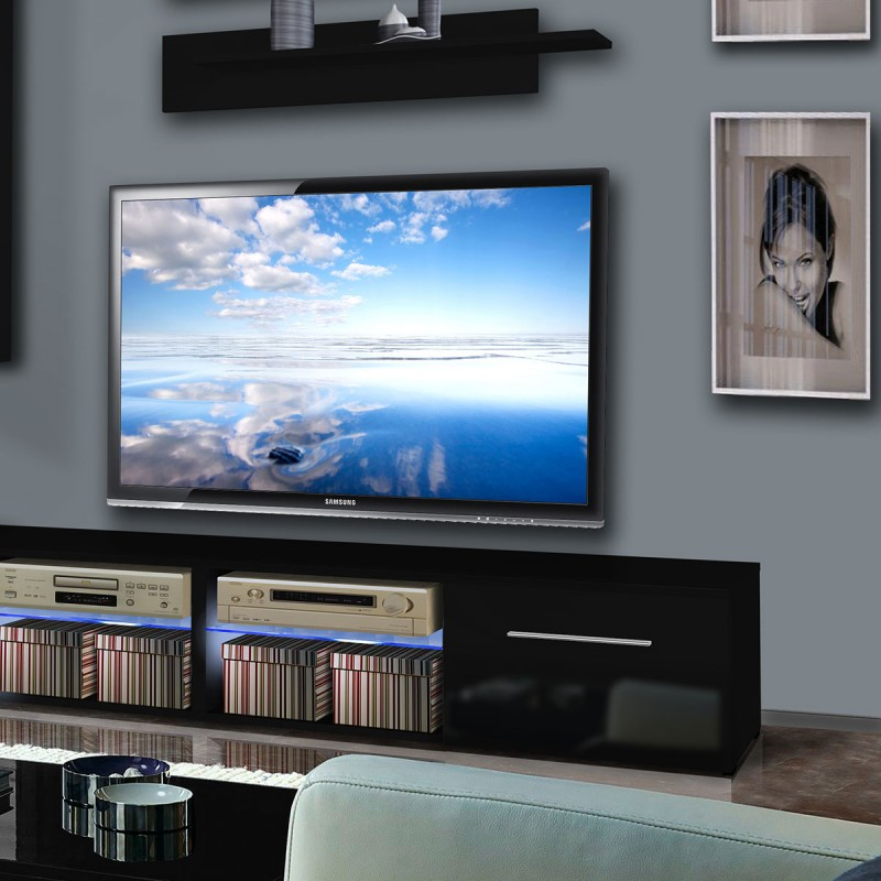 meuble tv mural tubus ii 240cm noir. Black Bedroom Furniture Sets. Home Design Ideas