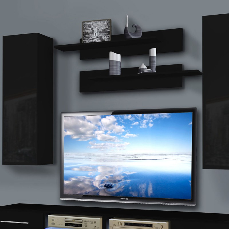 meuble tv mural tubus i twin 240cm noir. Black Bedroom Furniture Sets. Home Design Ideas