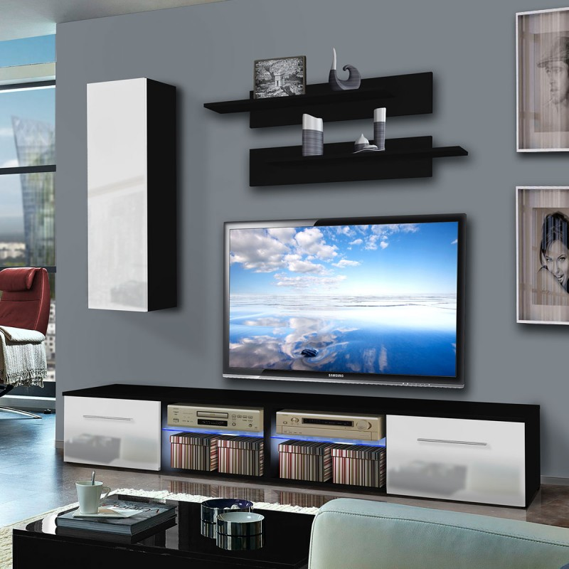 meuble tv mural tubus i 240cm blanc noir. Black Bedroom Furniture Sets. Home Design Ideas